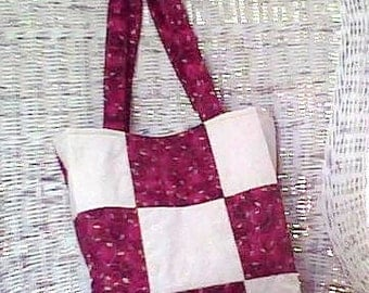 Holiday Quilted Patch bag...Red, Gold, Cream...