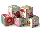 Wooden Alphabet Blocks - Alphabet Soup for Girls