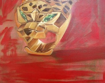 IS- Gold and Tsavorite Garnet ring, oil on canvas