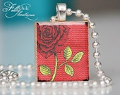 ROSE (RED) -Jewelry pendant charm necklace gift present handmade by frilly chili. Art charm Jewelry.