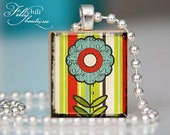 LOVE FLOWER - Jewelry pendant necklace gift present handmade by frilly chili. Art charm Jewelry.