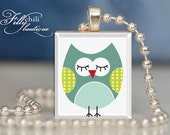 Owl (3) : Jewelry pendant/charm necklace handmade by frilly chili. Art charm Jewelry gift or present.