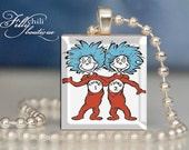 Thing One and Thing Two (Dr. Seuss) - Pendant from a Scrabble Game Tile with Ball Chain Necklace, handmade by Frilly Chili