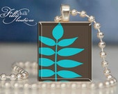 LEAF (Brown & BLUE) Jewelry pendant/charm necklace handmade by frilly chili. Art charm Jewelry gift or present.