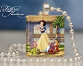 SNOW WHITE ( 2 ) - a jewelry pendant charm made from a Scrabble Game Tile game piece with Ball Chain Necklace