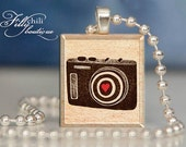 VINTAGE CAMERA (1) -Jewelry pendant/charm necklace handmade by frilly chili. Art charm Jewelry gift or present.