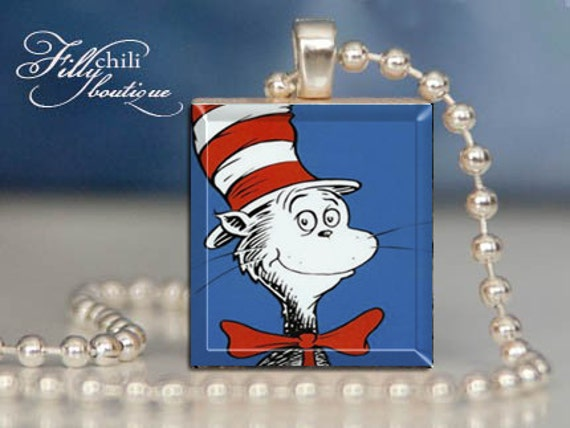 The cat in the hat dr seuss a jewelry pendant by frillychili for Cat in the hat jewelry