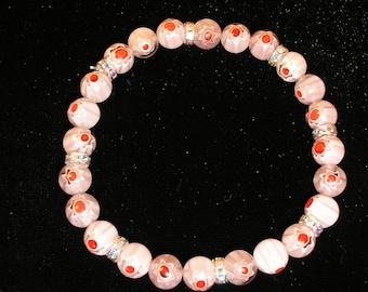 Genuine Pink Millifiore Bracelet with swarovski spacers