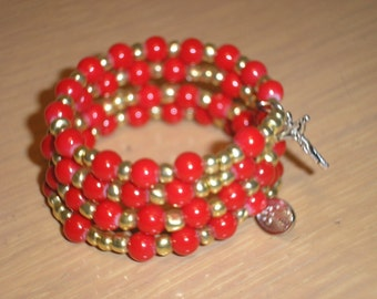 Rosary bracelet/Girls/Red acrylic rounds with gold glass seed beads