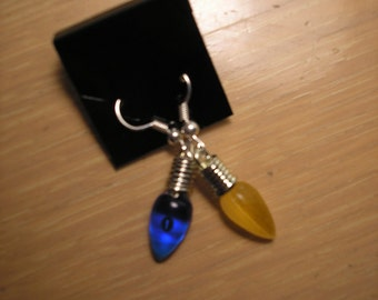 Holiday Lights Christmas bulb earrings/Blue and Yellow pierced