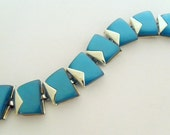 1950s Charel Moonglow Lucite Linked Bracelet  - Aqua Teal Blue Green and Silver Tone - Thermoset