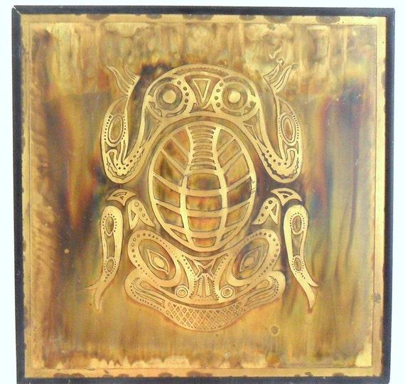 Bernhard Rohne Metallic Design Studio Acid Etched Haida Frog Panel