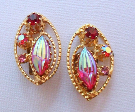 Signed Austria Red & Pink AB Rhinestone Crystal Clip On Earrings - 1950s