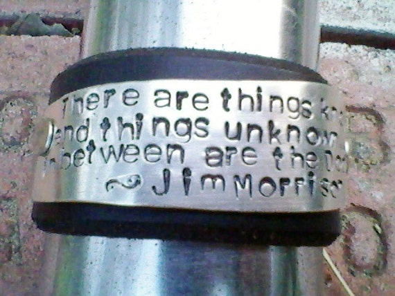 Morrison's Doors- handstamped on an Upcycled belt leather cuff-Silverware Jewelry