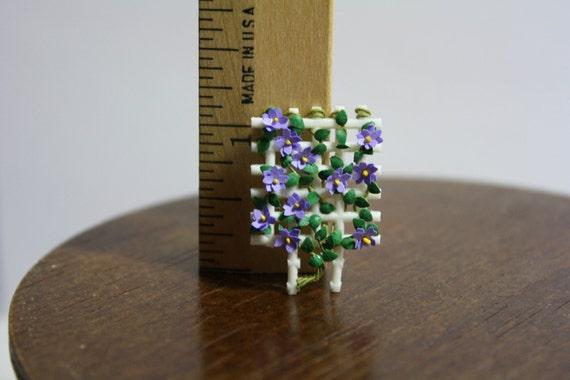 White Trellis with Purple Flowers