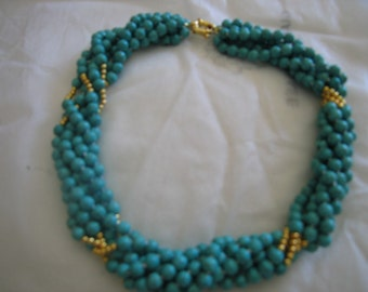 handmade turquoise beads choker necklace six strands