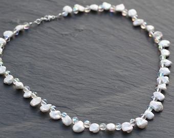 Bridal Keishi Pearl & Swarovski Crystal Necklace