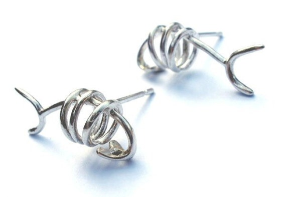 "Silver Fish Bone Earrings, ""Hook, Line and Sinker"" Collection"