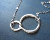 Silver Necklace,Two Circles, Friendship, Infinity, Cicles of Love, Valentine Gift, Sweetheart gift, Gold or Silver,