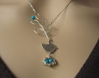 Silver leaf, Cute little Silver Bird, Turquoise eggs and silver nest, Silver Necklace