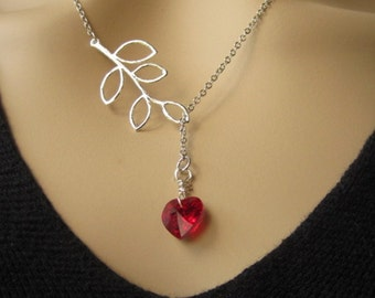 Silver leaf, Swarovski Red Heart Crystal, Valentine gift, Silver Necklace, Bridal jewelry, Bridesmaids gift, Holiday gift