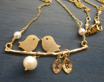 A Couple Birds in love personalized with initials, Freshwater Pearl, Birthstones- - Gold Necklace