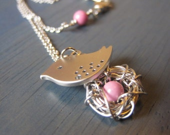 Mother Bird, Egg Nest, Silver or Gold Necklace, Gift for Expectant Mommy, Family Necklace, Cute little bird, Silver Necklace