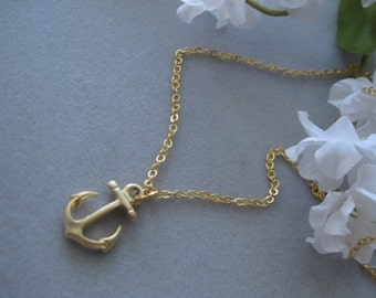 Gold Anchor charm, Gold necklace, Gift for someone special