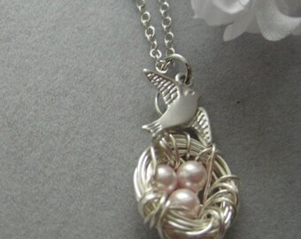 Family Bird nest, egg nest Silver necklace, Gift for new mommy, Holiday Gift, Mother's day gift
