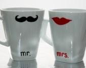 Mr. and Mrs. Mustache/Lips  Mugs