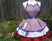 Salute the Stars and Stripes In Patriotic Red, White & Blue Pin-Up Apron - Ready To Ship