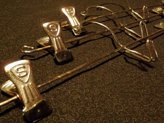 SALE...Hang it up... Three Vintage Metal Hangers clip style S