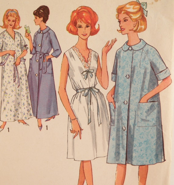 House Coat: Robe House Coat Pattern Vintage 1960s Simplicity By