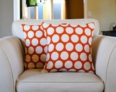 Polka dot pillows in burnt orange and off white.  Set of two (2) pillows for 18x18 pillow inserts.