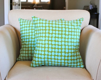 Grass Green and Aqua Polka Dot Pillow Covers in Amy Butler Sunspots Fabric. Set of two (2) pillow covers for 18x18 inserts. Easter pillow