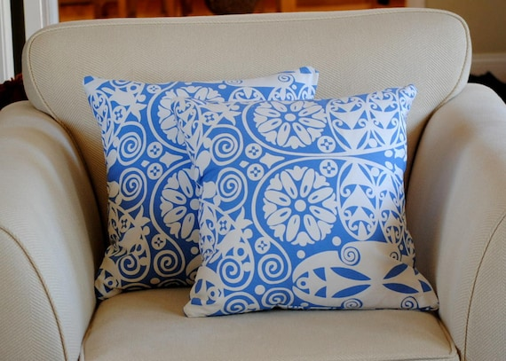 Graphic Sky Blue Pillow Covers.  Set of two(2) in  Soul Blossoms, Temple Doors.  For 18x18 Pillow Insert.