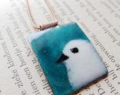 Olivia -- slightly annoyed enamel bird pendant -- free chain