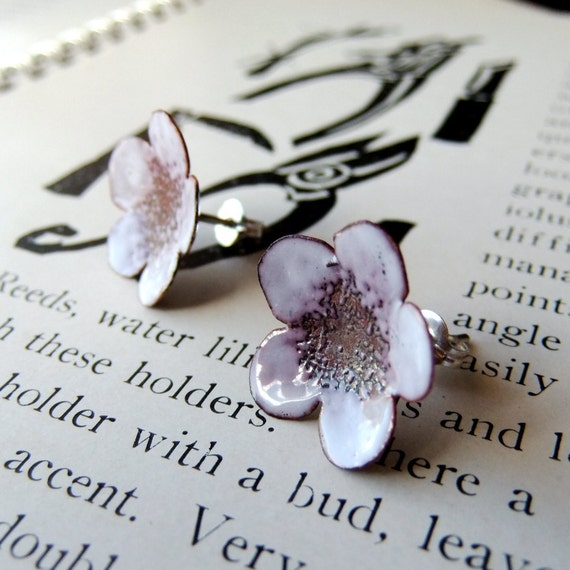 Flowers in White and Soft Burgundy -- glass enamel post earrings