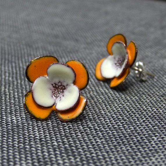 Cream and Yellow Flowers -- glass enamel earrings