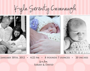 Stripes and Dots-A Simple and Stylish Custom Photo Birth Announcement for Baby Boy or Girl