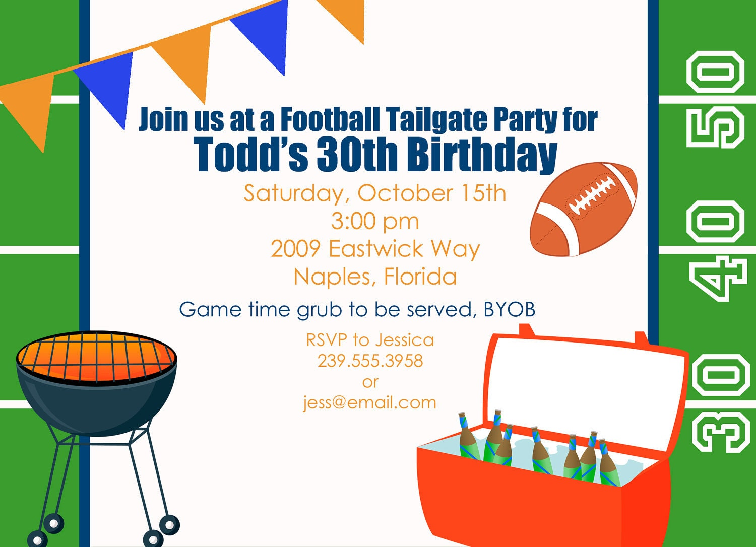 Football Tailgate Party Invitation personalized and printable