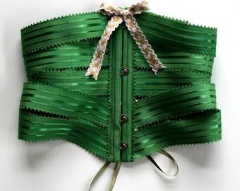 Corset Cincher Belt Ribbon / Emerald Green Satin Stripe Petersham / Large - TEELA Ribbon Corset Ready-to-Ship OOAK