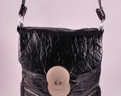 Reserved for Dory Black Crinkle Vinyl Space Age Mod Purse Shoulder Bag 60s