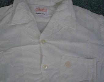 White Rayon Gabardine Short Sleeve White 1950s Shirt  L Rockabilly (M)