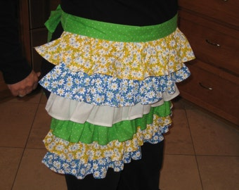 Daisy Apron in Yellow,  Blue and trimmed in Green