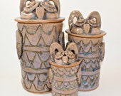 OWL canisters, ceramic canisters, ceramic owls, hand built, 3-piece set canisters, kitchen canisters, unique kitchen gift