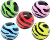 10 ASSORTED COLORS Zebra Striped Round Acrylic Spacer Beads 15mm . bac0219