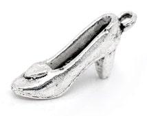 10 - Silver Tone Metal Pewter High Heel SHOE Fashion Charm Pendants 22x7mm  chs0671