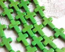 1 Strand Small Stone Cross Beads in GREEN. Sideways cross 16x12mm   how0059