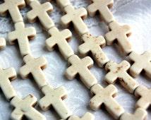 1 strand, 24 Beads Small Stone Cross Beads in WHITE, 16x12mm  Sideways Cross how0140